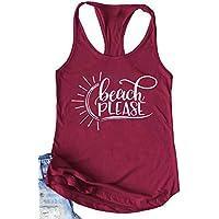 Susongeth Beach Please Tank Tops for Women Loose Casual Sleeveless Letter Print Shirts