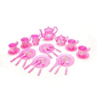 PowerTRC Princess Tea Party Set with Pink Tea Pots and Kitchen Utensils (29 pieces)