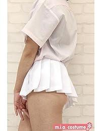 超ミニ無地プリーツスカート単品 色:無地白 サイズ:BIG