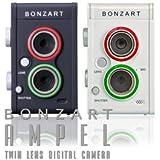 BONZART AMPEL ボンザート アンペル 二眼レフ風 二眼デジ ミニチュア写真 ジオラマ写真 レトロカメラ 女子カメ (ブラック)