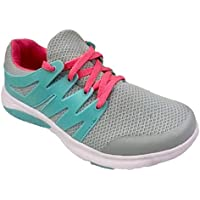 Athletic Works Girl's Overlay Athletic Shoe with Mesh Upper Gray with Aqua and Pink Accents (2) (9 Toddler)