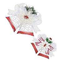LEDMOMO 2ピースクリスマスハンギングベルクリエイティブ中空アウトクリスマスツリーダブルベルハンギング飾り