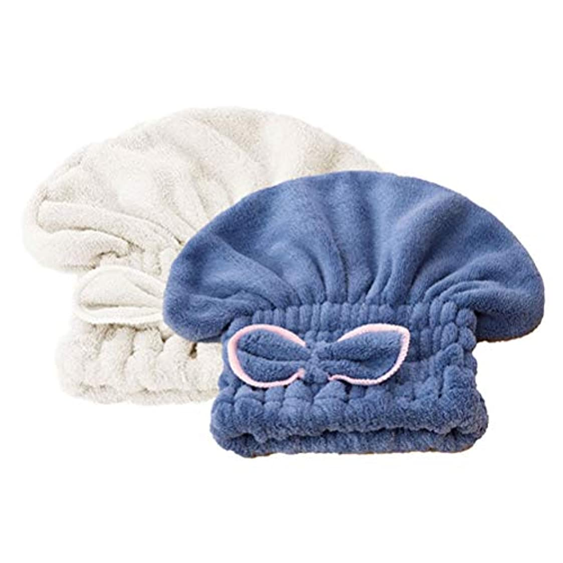 創造日付筋肉のHealifty マイクロファイバー髪乾燥タオルラップ吸収シャワーキャップバスヘアキャップ2個