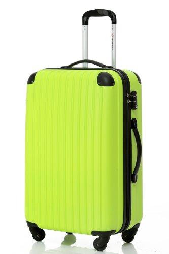 [Travelhouse]スーツケース キャリーケース 軽量 TSAロック ファスナータイプ 半鏡面仕上げ (SS, green and black)