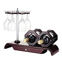 ソリッドウッドのワインラックの装飾、デスクトップの装飾的なワインボトルのディスプレイスタンド、ストレージドロワークリエイティブオーナメントZDDABと6トップトップ逆さまのカップ