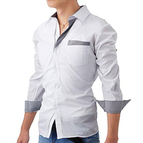 Fairy Stone ドレスシャツ メンズ 長袖 スリム フィット ストライプ LEON系 シャツ カッターシャツ ワイシャツ カジュアル フォーマル きれいめ おしゃれ ネイビー レッド ブラック ホワイト M L XL S-07 (M, ホワイト)