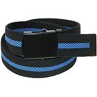 CTM Men's Big & Tall Adjustable Police Belt with Blue Center Line