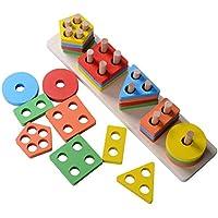 DalosDream 木製 教育 幼稚園 幼児 おもちゃ 1 2 3 4-5歳 男の子 女の子 形状 色認識 幾何学ボード ブロック 積み重ね 分厚いパズル 子供 赤ちゃん 非毒性 おもちゃ 14INCH DD-WD-0907