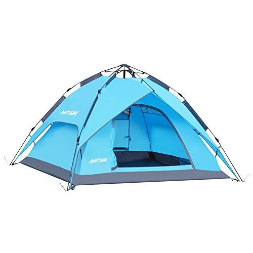 テント ワンタッチテント ANTSIR 設営簡単 3~4人用 ワンタッチで簡単 紫外線防止 折りたたみ 防災用 撥水加工 キャンプ用品 防水 通気性 アウトドア 登山 3色選択可能 (ブルー)