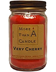 More Than A Candle VCY16M 16 oz Mason Jar Soy Candle, Very Cherry