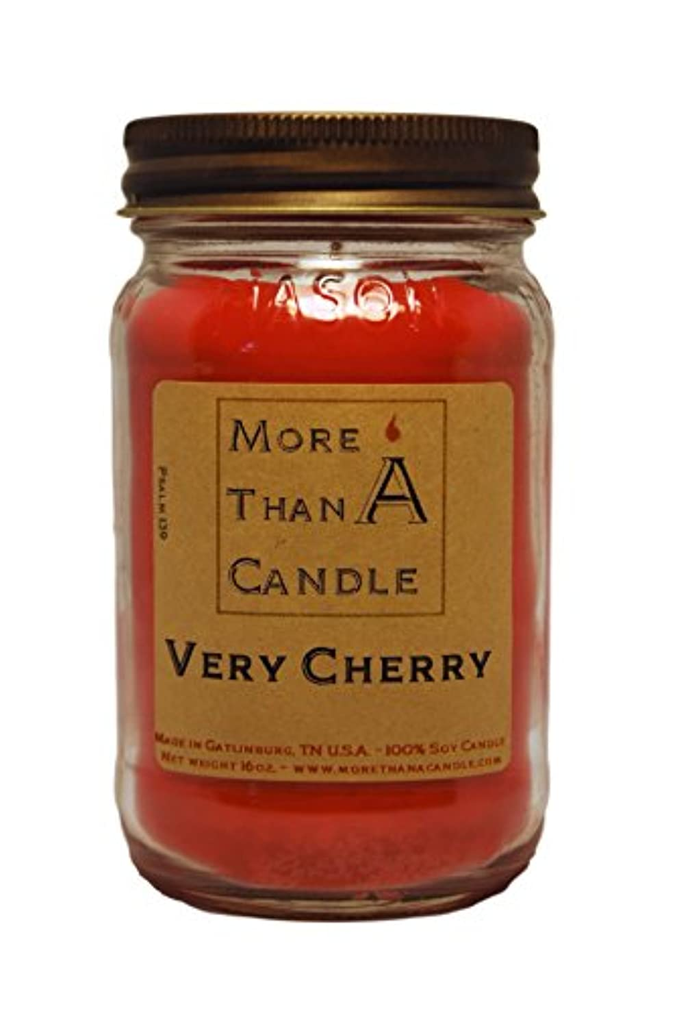磨かれた抽選専門More Than A Candle VCY16M 16 oz Mason Jar Soy Candle, Very Cherry