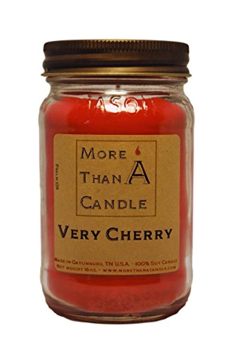 猟犬シンク木製More Than A Candle VCY16M 16 oz Mason Jar Soy Candle, Very Cherry