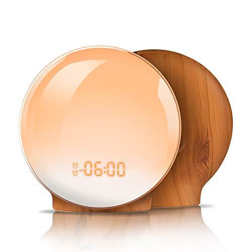 目覚まし時計 光 目覚ましライト YABAE Wake Up Light デジタル めざまし時計 大音量 子ども 自然音 クロックラジオ ウェイクアップライト ベッドサイドランプ アラーム スヌーズ機能 おしゃれ FMラジオ 間接照明 寝室 室内 授乳 コンセント 木目調 MY-09-M