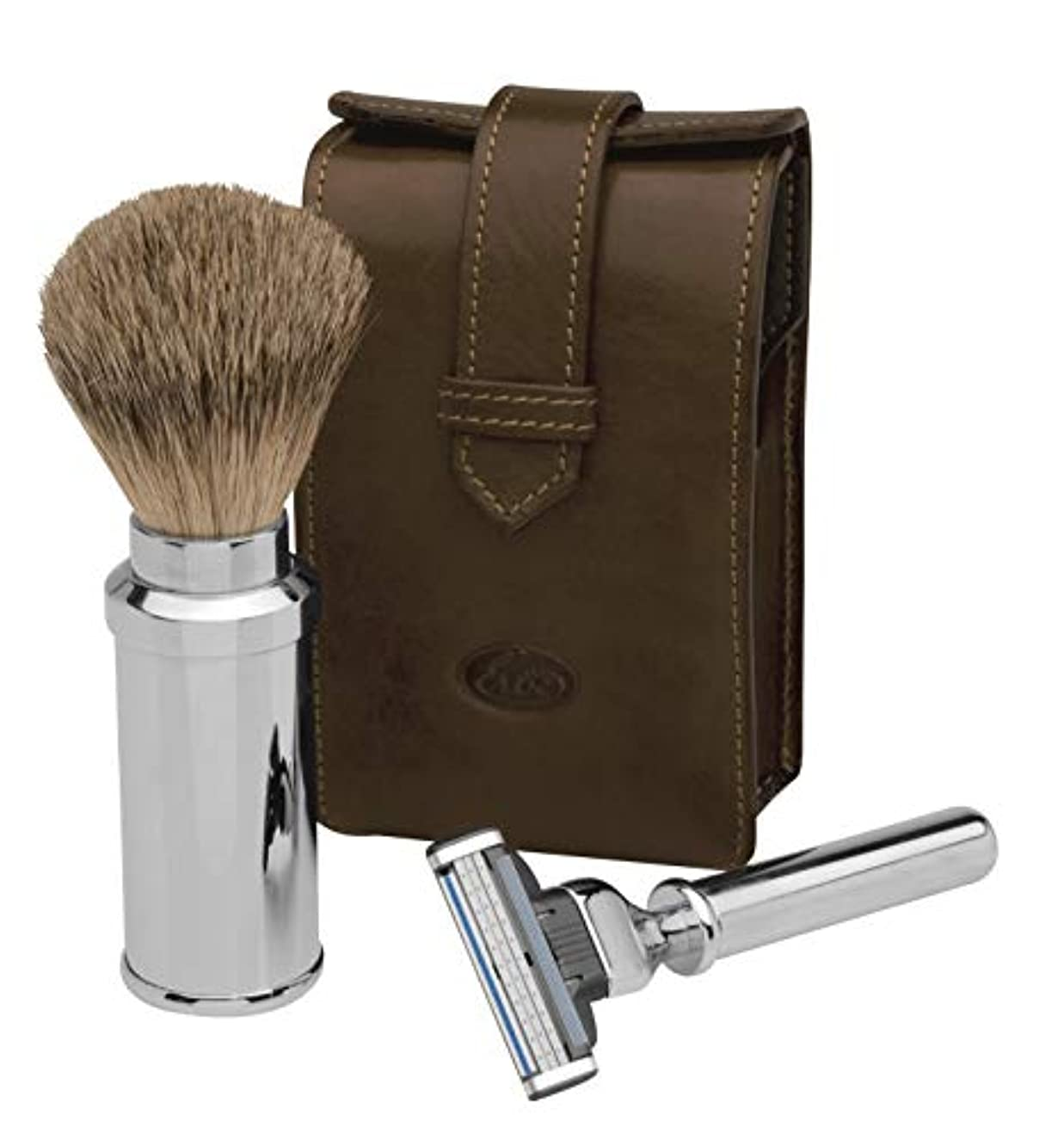 オンに頼るキャプションErbe Travel Shaving Set, Razor and Shaving Brush in brown Leather Pocket