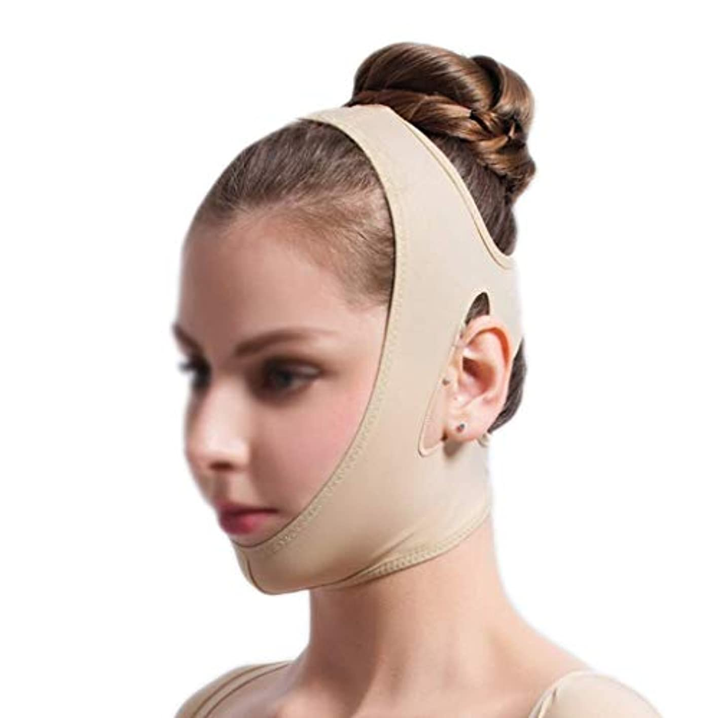 苦難素敵な病気フェイスリフティングバンデージ、フェイシャル減量マスク、フェイシャルリフティングスリミングベルト、痩身チークマスク(サイズ:S),S