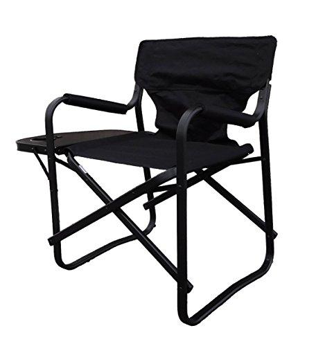 サイドテーブル付ディレクターチェア 艶のあるブラックが美しい、サイドテーブル付きチェアの定番商品。「...