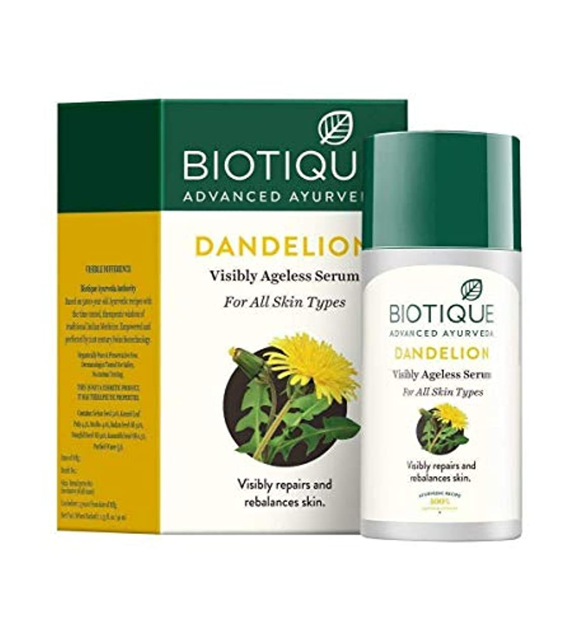 他の日レイア息切れBiotique Bio Dandelion Visibly Ageless lightening serum, 40 ml Rich in Vitamin E Biotiqueバイオタンポポ目に見えないエイジライトニング...