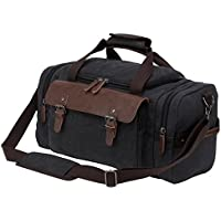 Riavika Canvas Leather Trim Duffle Bag Oversized Travel Duffle Luggage Bag