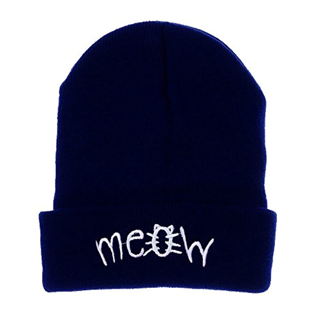 弁護染色まっすぐにするRacazing 選べる4色 ニット帽 縮らす 英語の刺繍 ニット帽 防寒対策 通気性のある 防風 暖かい 軽量 屋外 スキー 自転車 クリスマス 編み物 Hat 男女兼用 (ネービー)
