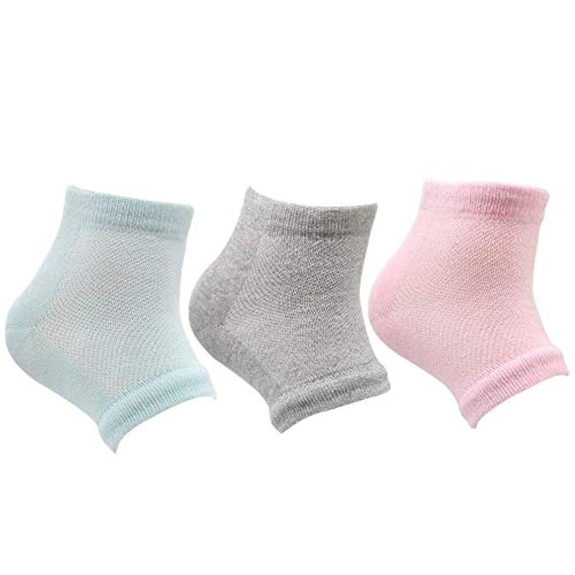 どこにでもアレルギー性ぴったりかかと 靴下 つるつる ジェル かかとケア 男女兼用 グリーン ピンク グレイ 3足セット