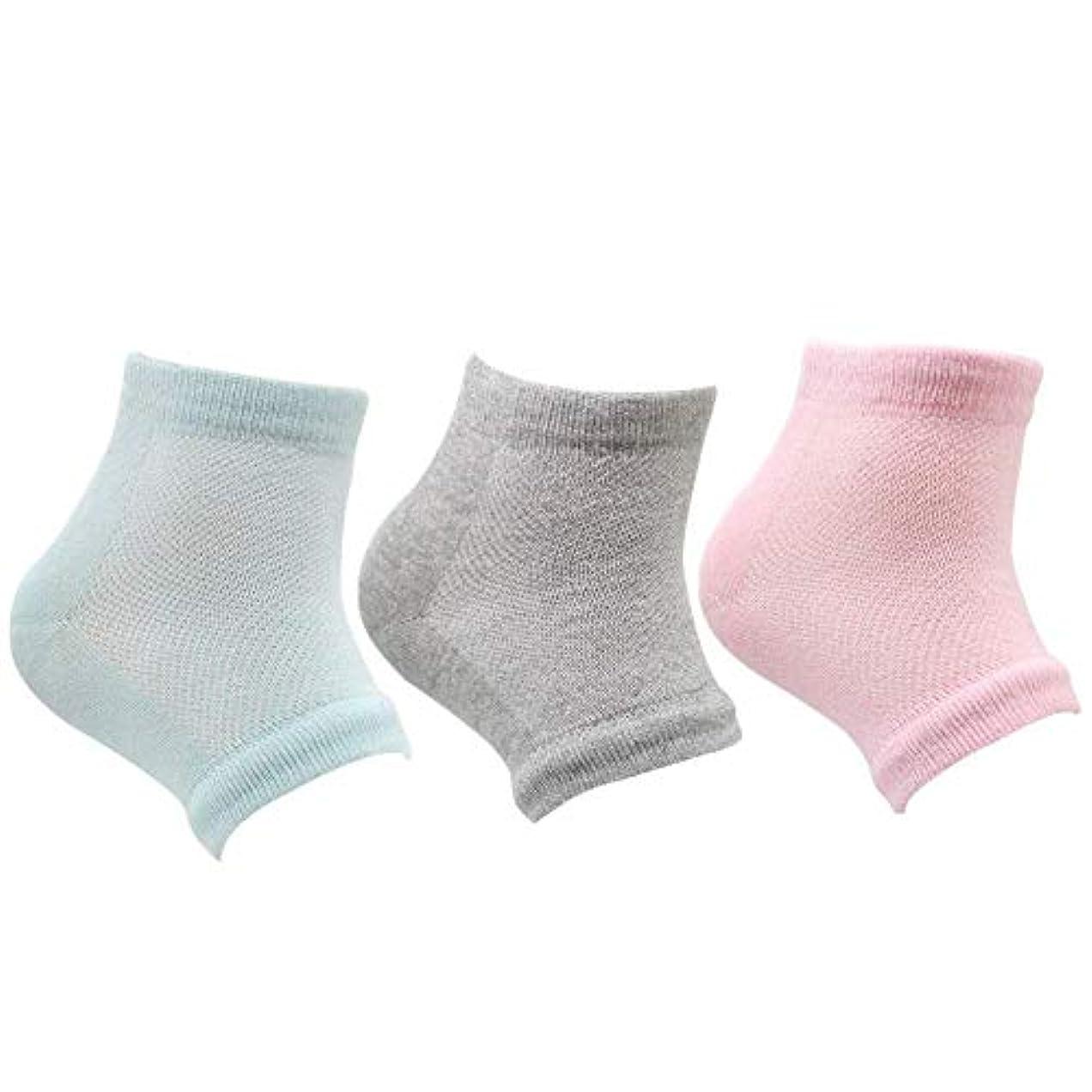 爆風バッテリーリーフレットかかと 靴下 つるつる ジェル かかとケア 男女兼用 グリーン ピンク グレイ 3足セット