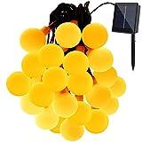(Lulu LAB) 電球型 LED イルミネーション 30灯 6.5m 太陽電池 式 クリスマス イルミ (ゴールド)