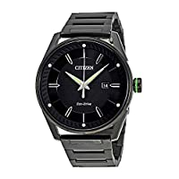 Citizen Men 's eco-driveブラックand Green Watch One Size ブラック