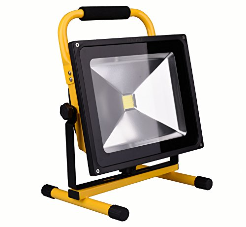 充電式LED投光器■ポーペ(POOPEE) 充電式LED投光器 50W バッテリー内蔵式ポータブル投光器 6000K 広角 昼白色 角度調整可 防水加工 フラッドライト -