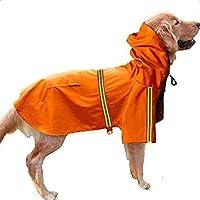 ファッションソリッドカラー犬レインコートポケット付き、PU防水ポンチョ、安全反射ストリップ、犬用夏光服 Orange XXXL