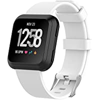 "Fitbit Versa Watch Bands , IVSO Men Women Kids 11 Colors Soft TPE Silicone Sport Quick Release Classic Loop Band Adjustable Strap Wristbands Accessory Replacement Watch Bands For Fitbit Versa Smartwatch ,White , 6.5""-8.7"""