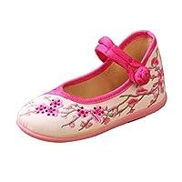 [Lian] 古代の靴、子供用の靴、刺繍入り布靴、子供用ダンスパフォーマンスサンダル (色 : ローズレッド, サイズ さいず : 31)
