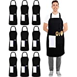 Utopia Kitchen 10 Pack Adjustable Bib Apron with 2 Pockets - Adjustable Neck Strap - 32-Inch by 28-Inch with Extra Long Ties,