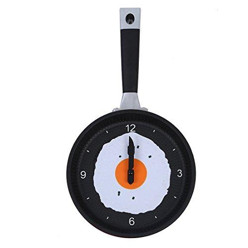 ウォールクロック,SODIAL(R)フライパン時計 目玉焼き付き - ノベルティハンギング キッチン カフェ ウォールクロック - 赤