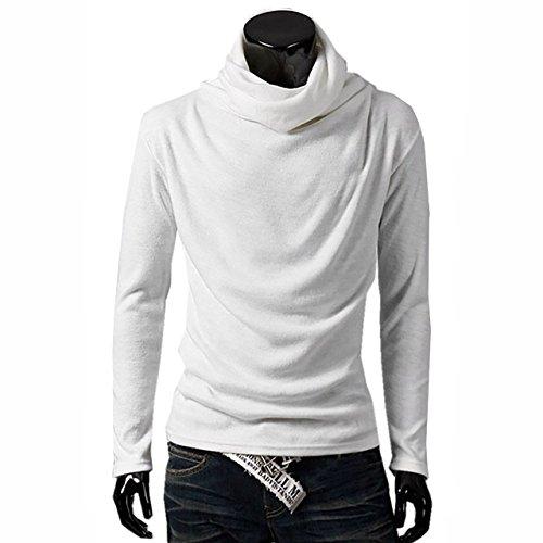BUZZxSELECTION(バズ セレクション) メンズアフガンタートルネック 長袖 カットソー メンズ スタイリッシュ カジュアル ロング Tシャツ TSL003 (ホワイト,M)