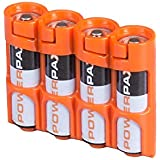 PowerPax Storacell Slim Line AA Battery Caddy, Orange - Holds 4 AA Batteries
