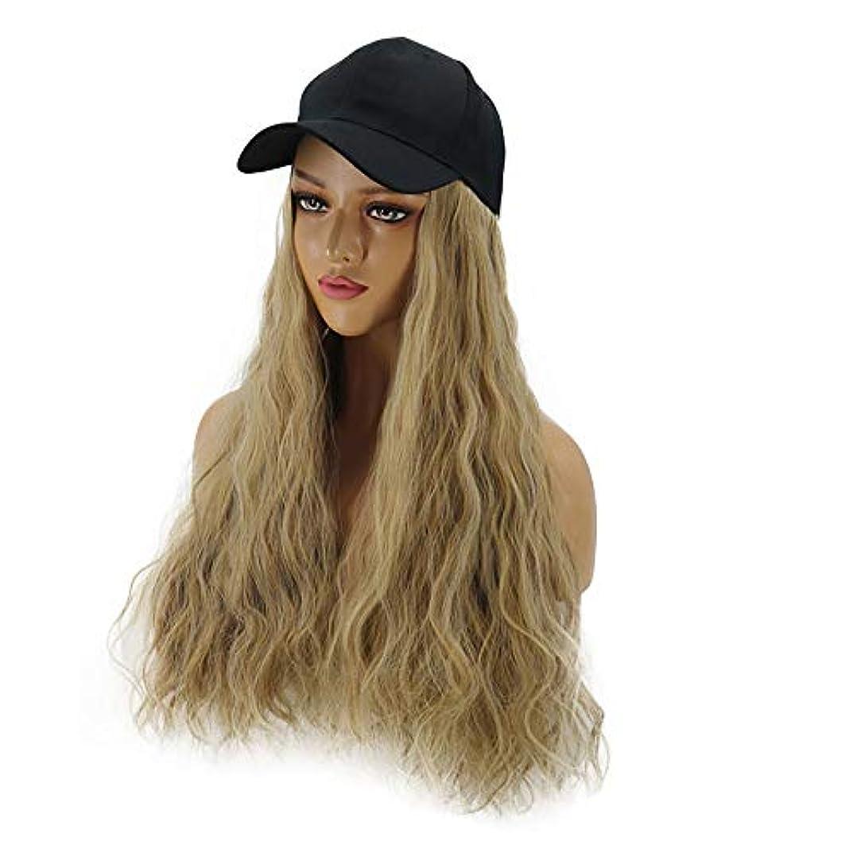 スローコールポータブルHAILAN HOME-かつら ファッション女性ウィッグハットワンピース帽子ウィッグコーン型パーマミックスアンバー/ブラウン簡単ワンピース取り外し可能