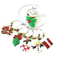 BESTONZON クリスマスのガラスのチャームワイングラスのゴブレットの魅力のリング飲み物のマーカーパーティーの好意 - 6個