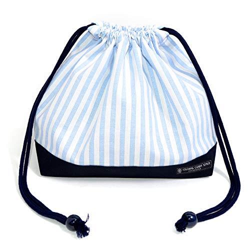 巾着・中 お弁当入れ お弁当袋 ベーシックストライプ・水色 N3401500...