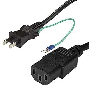 StarTech.com AC電源ケーブル 2m 片側アース端子付き 3P-2P電源コード 2ピン オス(NEMA 1-15) - 3ピン メス(IEC 60320 C13) PXTJ1012M