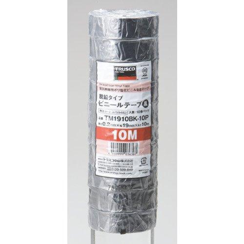 ビニールテープ 19X10m 黒 10巻り TM1910BK-10P 1パック(100m) 375-9482