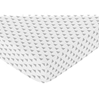 Sweet Jojo Designs Fitted Crib Sheet for Turquoise Blue and Gray Earth and Sky Baby/Toddler Bedding - Triangle Print [並行輸入品]