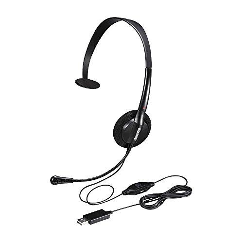 BUFFALO 片耳ヘッドバンド式ヘッドセット USB接続 ブラック BSHSHUM100BK