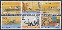 日本の絵画の切手 ガーナ2001年6種完 鳥(鶴)