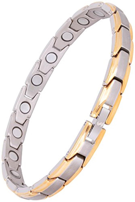 リスナー製油所いつでもSmarter LifeStyle 女性用 エレガントなチタン製磁気療法用ブレスレット 関節炎や手根管の痛み緩和 ブレスレット:(20 cm) シルバー&ゴールド
