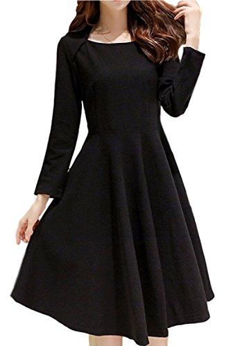 (PlaisteL) シンプル フレア ワンピース 長袖 ひざ丈 レディース 無地 パーティー ドレス プリンセス ライン (ブラック XXL)