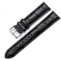 Men's or Women's Black Genuine Replacement Leather Band for Watches 20mm Width 7.87inch Length