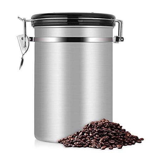 コーヒー豆 保存容器 コーヒーキャニスター ステンレス 密閉 おしゃれ コーヒー貯蔵缶 大容量 キッチン用品 四種カラー選択可能 1.8L, シルバー