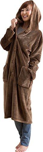 mofua モフア プレミアム マイクロファイバー 着る 毛布 フード付(ルームウェア) 着丈110cm オリーブブラウン 484764P7