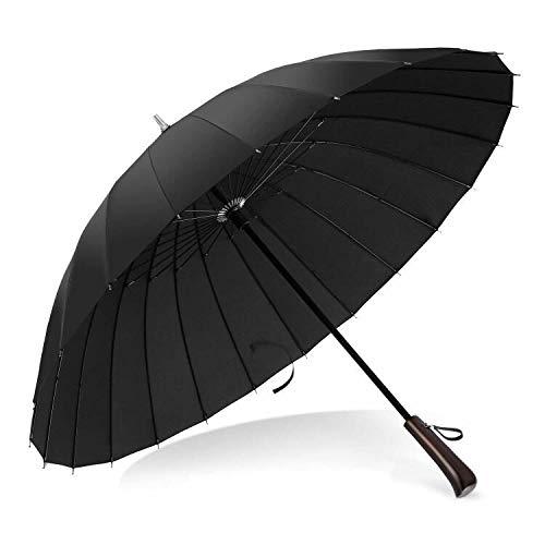 長傘 雨傘 和傘 大きな傘 超軽量 24本骨 和風傘 ステッキ傘 紳士傘 耐風傘 レディース傘 メンズ傘 グラスファイバー骨 撥水加工 梅雨対策 豪雨対策 通勤通学(ブラック)