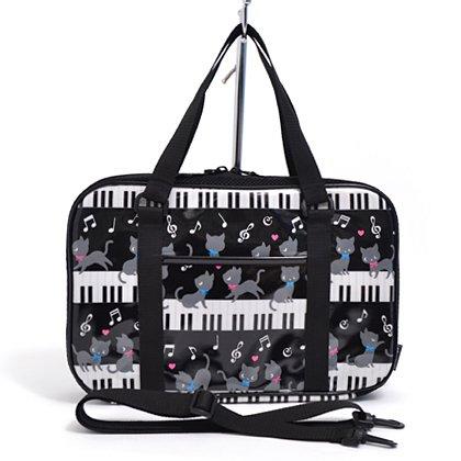 格上スタイルのキッズ書道・習字バッグ(バッグのみ) ピアノの上で踊る黒猫ワルツ(ブラック) 日本製 N2200800